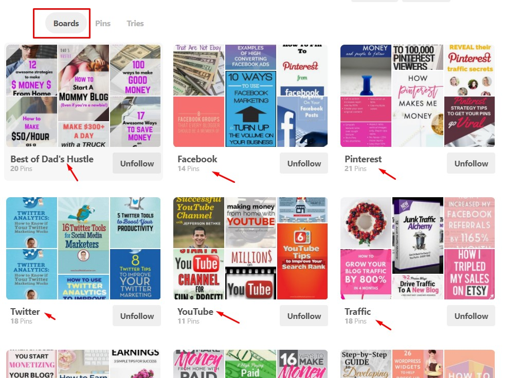 My layout to get maximum Pinterest Traffic